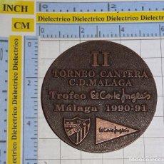 Coleccionismo deportivo: MEDALLA MONEDA DE FÚTBOL. II TORNEO CANTERA CLUB DEPORTIVO MÁLAGA TROFEO 1990 1991. 50GR. Lote 275888798