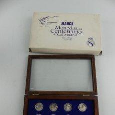Colecionismo desportivo: MONEDAS DEL CENTENARIO DEL REAL MADRID 1902 2002 DIARIO MARCA EXPOSITOR. Lote 285406523