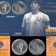 Coleccionismo deportivo: ARGENTINA MONEDA MEDALLA CONMEMORATIVA DEL 40 ANIVERSARIO DIEGO MARADONA - EDICION LIMITADA - ALPACA. Lote 292032848