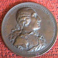 Medallas históricas: MEDALLA DE BRONCE EN MEMORIA DEL GENERAL WASHINGTON. AÑO 1805 CIUDAD DE LANCASTER. Lote 5208624