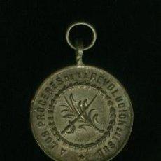 Medallas históricas: MEDALLA DE BRONCE PLATEADO - A LOS PROGERES DE LA REVOLUCIÓN SUD 1895. Lote 22007053
