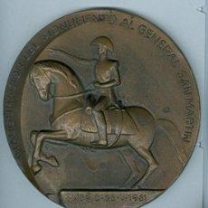 Medallas históricas: INAUGURACION DEL MONUMENTO AL GENERAL SAN MARTIN EN MADRID. MEDALLA BRONCE. AÑO 1961. Lote 27063428