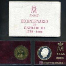 Medallas históricas: MEDALLAS BICENTENARIO DE CARLOS III - 1988 UNA DE PLATA Y OTRA DE METAL. Lote 22139397