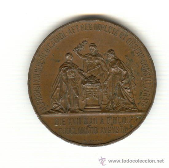 Medallas históricas: 1-1902 ENORME MEDALLA MAYORÍA DE EDAD ALFONSO XIII DIÁMETRO: 60 MM. PESO 91 GRAMOS GRABADOR: B.MAURA - Foto 2 - 26809854