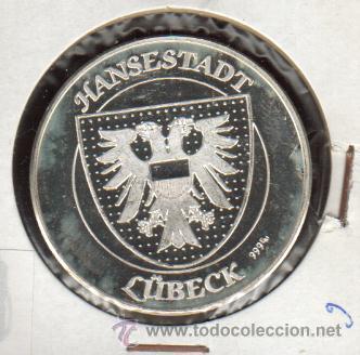 Medallas históricas: PRECIOSA MEDALLA DE PLATA CONMEMORATIVA DE LA CIUDAD DE LUBECK ALEMANIA VER FOTOS - Foto 2 - 27326864