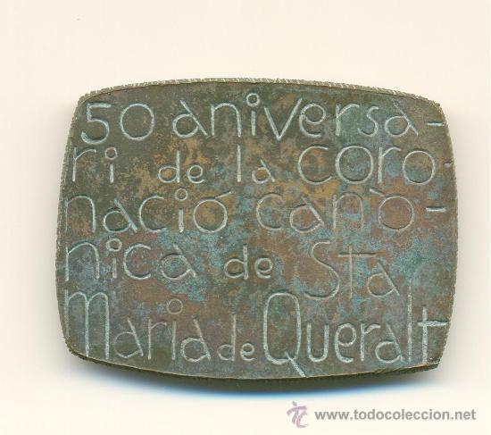 Medallas históricas: BERGA MEDALLA RECORD CINQUANTENARI CORONACIÓ VERGE DE QUERALT 1916-1966 - Foto 2 - 28203382