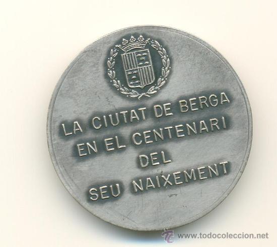 Medallas históricas: BERGA MEDALLA RECORD CENTENARI NAIXEMENT DE RAMON VINYES - Foto 2 - 27460550