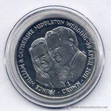 Medallas históricas: MEDALLA CONMEMORATIVA ISLAS FALKLAND. MALVINAS. BODA REAL WILLIAN Y KATE MIDDLETOWN. Lote 31135542