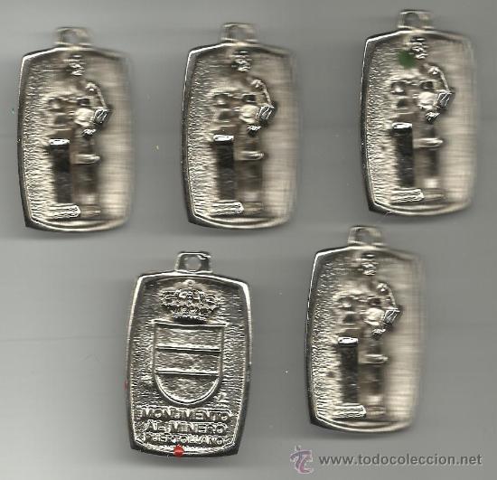 JUEGO DE CINCO MEDALLAS DEL MONUMENTO AL MINERO DE PUERTOLLANO VER FOTOS (Numismática - Medallería - Histórica)