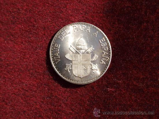 Medallas históricas: Medalla de plata Juan Pablo II conmemorativa de la visita del Papa a España - Foto 2 - 35050249