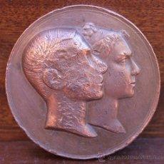 Medallas históricas: MEDALLA EN BRONCE BODA ALFONSO XII REY ESPAÑA Y MARIA DE LAS MERCEDES REINA EL 25 DE ENERO DE 1878. Lote 90938532