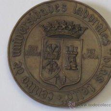 Medallas históricas: TOLEDO - GRAN MEDALLA ORIGINAL EN COBRE: CENTRO UNIVERSIDADES LABORALES - BLAS TELLO - TOLEDO 1972.. Lote 36117206