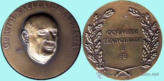 ESPAÑA 1978.- J. SANTANA - GENERAL KAULZA DE ARRIAGA. REV. CORAGEM TENACIDADE E FE. EN BRONCE (Numismática - Medallería - Histórica)