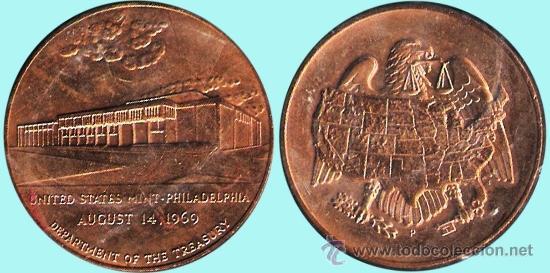EE.UU. 1969.- UNITED STATES MINT-PHILADELFIA 14 AUGUST 1969 DEPARTAMENT OF THE TREASURY.COBRE DORADO (Numismática - Medallería - Histórica)