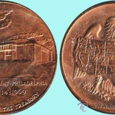 Medallas históricas: EE.UU. 1969.- UNITED STATES MINT-PHILADELFIA 14 AUGUST 1969 DEPARTAMENT OF THE TREASURY.COBRE DORADO. Lote 37294454