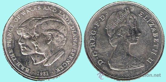 GRAN BRETAÑA 1981. H.R.H. PRINCIPE DE DE WALES Y LADY DIANA SPENCER REV. ISABEL II SC. COBRE-NIQUEL (Numismática - Medallería - Histórica)