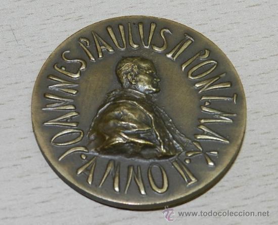 ANTIGUA MEDALLA DE REDEMPTOR HOMINIS , JOHANNES PAULUS II , ANNO II , VATICAN, MIDE 44 MM. BRONCE. (Numismática - Medallería - Histórica)