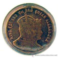 Medallas históricas: INGLATERRA . MEDALLA EDWARD VII AND QUEEN ALEXANDRA. CORONACION 1902. Lote 39201192