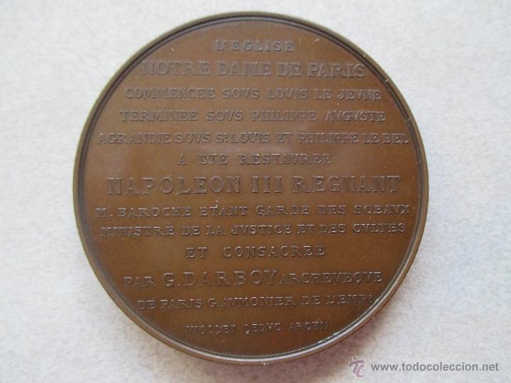 Medallas históricas: MEDALLA -1864 - RESTAURACIÓN Y CONSAGRACIÓN DE LA CATEDRAL NOTRE-DAME DE PARIS - Foto 2 - 40930437