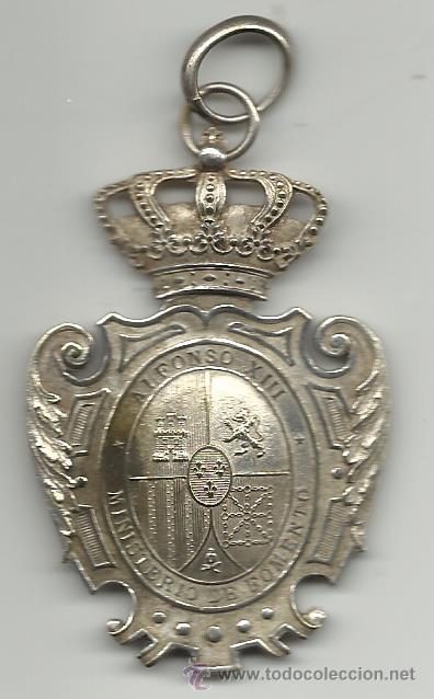 MEDALLA MAGISTERIO PRIMERA ENSEÑANZA - ALFONSO XIII - MINISTERIO DE FOMENTO - PLATA (Numismática - Medallería - Histórica)
