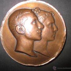 Medallas históricas: MEDALLA BRONCE ALFONSO XII REY DE ESPAÑA MARIA DE LAS MERCEDES CASADOS 23 ENERO DE 1878 - (V- 735). Lote 43753343