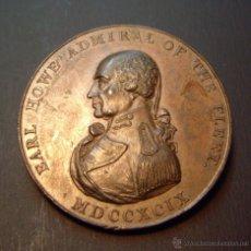 Medallas históricas: MEDALLA A LA MEMORIA DEL ALMIRANTE EARL HOWE 1799 - EN RECUERDO AL GLORIOSO PRIMERO DE JUNIO . Lote 45543703
