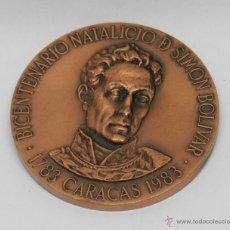 Medallas históricas: ANTIGUA MEDALLA DE COBRE BICENTENARIO NATALICIO DE SIMON BOLIVAR, CARACAS 1783 -1983, CONGRESO BOLIV. Lote 45939209