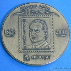Medallas históricas: MEDALLA MEDALLÓN DE BRONCE. ÚLTIMO SELLO DE 1 PESETA. 1873 2001. DON JUAN CARLOS I REY. AFINSA. Lote 46240392