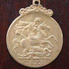 Medallas históricas: ANTIGUA MONEDA TRANSFORMADA EN MEDALLA GEORGIUS III D: G: BRITANNIA REX – 1823. Lote 47136232