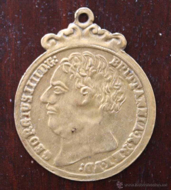 Medallas históricas: ANTIGUA MONEDA TRANSFORMADA EN MEDALLA GEORGIUS III D: G: BRITANNIA REX – 1823 - Foto 2 - 47136232