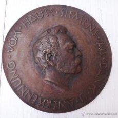 Medallas históricas: MEDALLA O MEDALLON , ANERKENNUNG VOM HAUSE SIEMENS ALS DANK , BRONCE , ANTIGUA , 19 CMS. , ORIGINAL. Lote 49504092