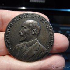 Medallas históricas: MEDALLA PLATA. ANTONIO MAURA Y MONTANER. POR ESPAÑA. 29 ABRIL 1917. Lote 49955376