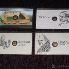 Medallas históricas: PLASTIFICADO MINI-MEDALLA / MONEDA - PAPA JUAN XXII, JUAN PABLO II, PABLO VI - MUNDIAL 82. Lote 51378838