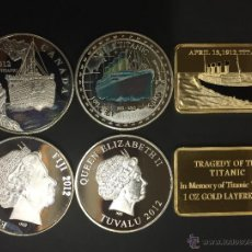 Medallas históricas: 3 MONEDAS CONMEMORATIVAS DEL HUNDIMIENTO DEL TITANIC. Lote 122671116