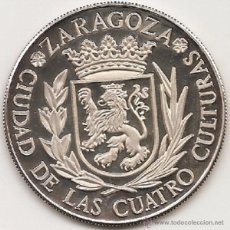 Medallas históricas: MEDALLA DE ZARAGOZA. 45 MM. ACUÑADA POR ACUÑACIONES PARÍS SA CON EL PATROCINIO DEL BANCO ZARAGOZANO. Lote 51789807