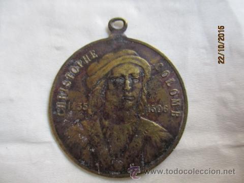 ANTIGUA MEDALLA DE CHRISTOPHE COLOMB 1435 - 1506. (Numismática - Medallería - Histórica)