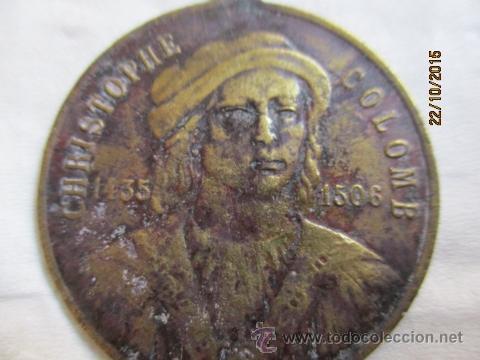 Medallas históricas: Antigua medalla de Christophe Colomb 1435 - 1506. - Foto 2 - 52197362