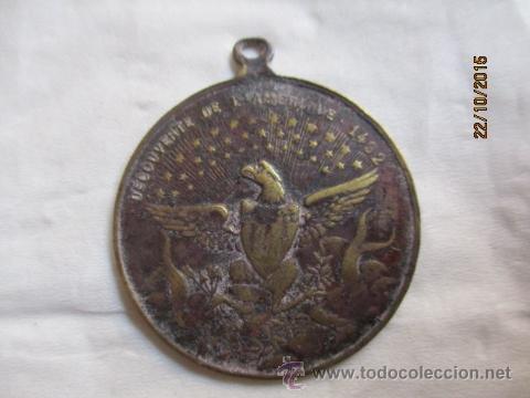 Medallas históricas: Antigua medalla de Christophe Colomb 1435 - 1506. - Foto 3 - 52197362