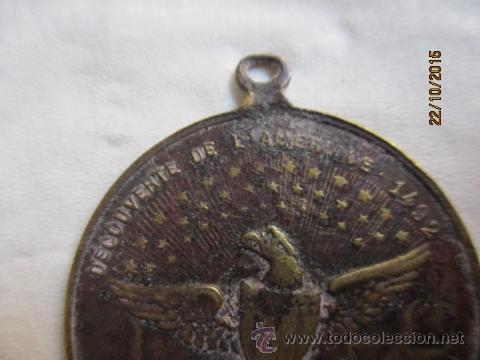 Medallas históricas: Antigua medalla de Christophe Colomb 1435 - 1506. - Foto 4 - 52197362