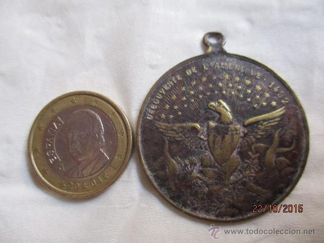 Medallas históricas: Antigua medalla de Christophe Colomb 1435 - 1506. - Foto 5 - 52197362