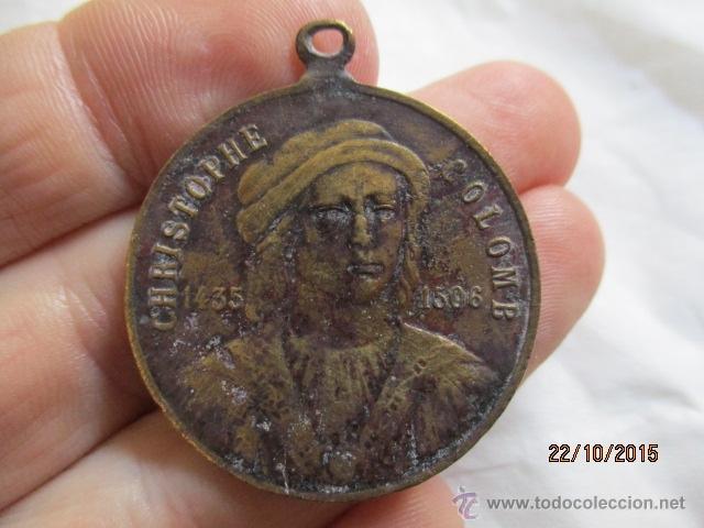 Medallas históricas: Antigua medalla de Christophe Colomb 1435 - 1506. - Foto 6 - 52197362
