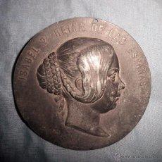 Medallas históricas: GRAN MEDALLON ISABEL 2ª REINA DE LAS ESPAÑAS - SIGLO XIX - MUY RARO.. Lote 52694865