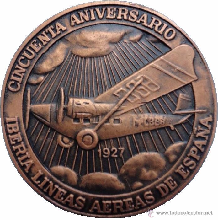 ESPAÑA. MEDALLA 50 ANIVERSARIO IBERIA. 1.977. CON ESTUCHE ORIGINAL (Numismática - Medallería - Histórica)