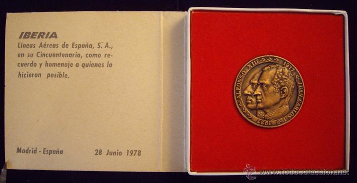 Medallas históricas: ESPAÑA. MEDALLA 50 ANIVERSARIO IBERIA. 1.977. CON ESTUCHE ORIGINAL - Foto 3 - 53358168