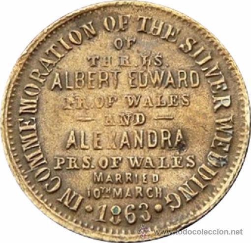 Medallas históricas: INGLATERRA. BODAS DE PLATA REALES ALBERTO Y ALEJANDRA. 1.863 - Foto 2 - 53904966