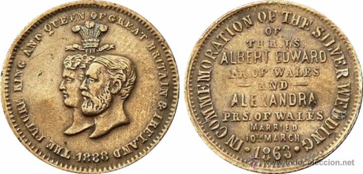 Medallas históricas: INGLATERRA. BODAS DE PLATA REALES ALBERTO Y ALEJANDRA. 1.863 - Foto 3 - 53904966
