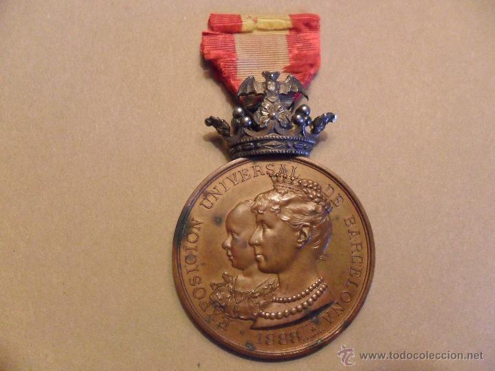 MEDALLA EXPOSICION UNIVERSAL DE BARCELONA 1888 COBRE Y CORONA PLATA (Numismática - Medallería - Histórica)
