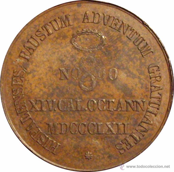 Medallas históricas: ISABEL II. MEDALLA HISPALENSES FAUSTUM. SEVILLA 1.862 - Foto 2 - 48113077