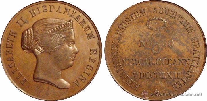 Medallas históricas: ISABEL II. MEDALLA HISPALENSES FAUSTUM. SEVILLA 1.862 - Foto 3 - 48113077