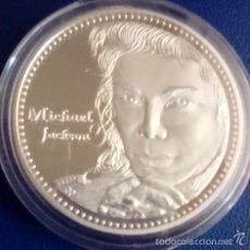 Medallas históricas: BONITA MONEDA PLATA DE MICHAEL JACKSON CONOCIDO COMO EL REY DEL POP. Lote 206963396